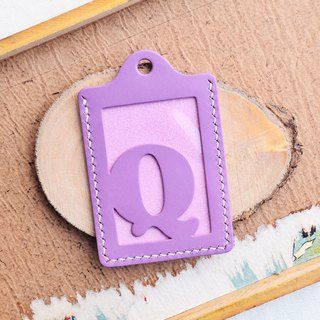 Initial text Q letter certificate set well stitched leather material package card holder business card holder free engraving