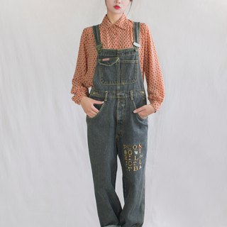 Gray-yellow embroidered vintage strap jeans