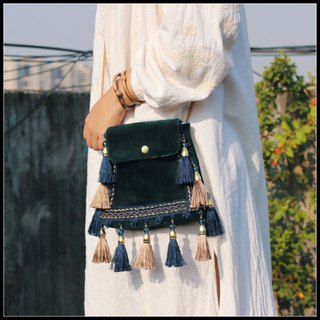 Dark green court velvet tassel Messenger bag retro original design handmade cloth bag