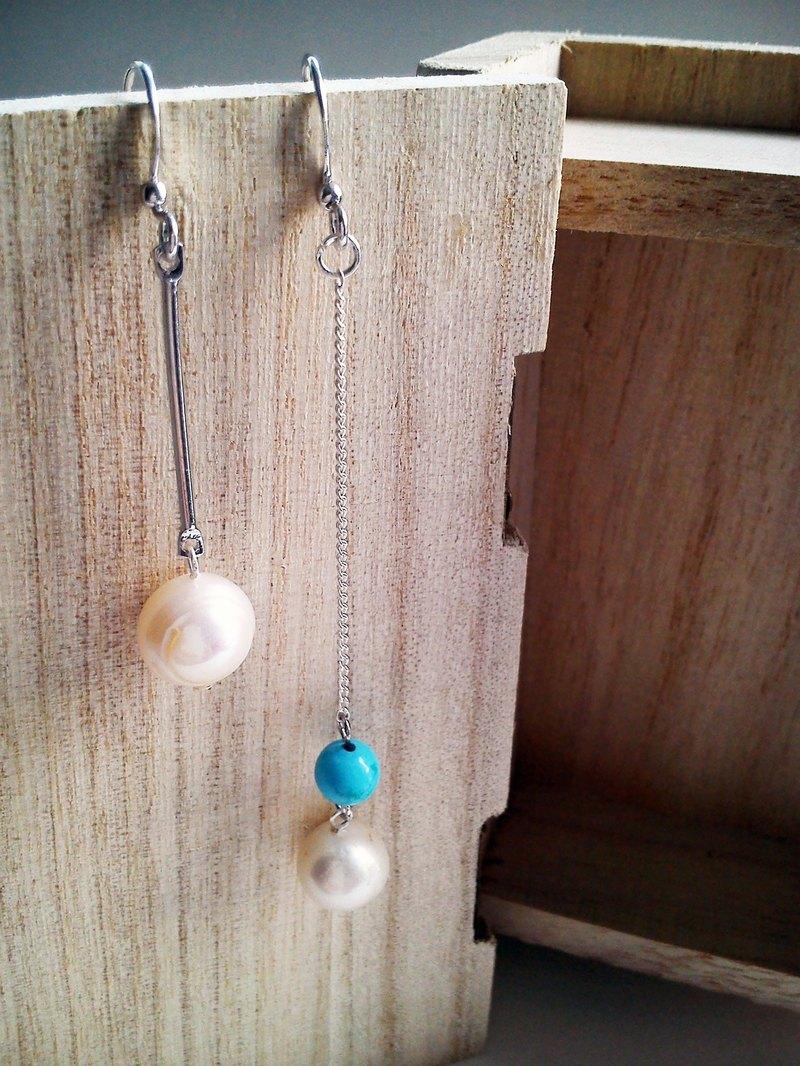 淡水珍珠配綠松石自家設計耳環_925銀耳勾_Long Vocation系列