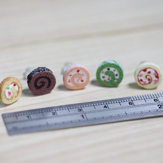 袖珍蛋糕卷耳環 套組 Miniature Sweet Roll Cake Earring Set