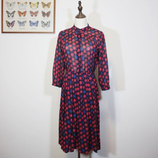 Made in Japan using YSL brand printed fabric (Vintage dress) blue star flower long-sleeved dress F3512