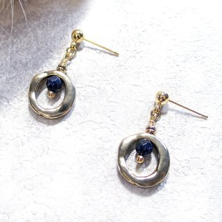 VIIART. Small circle - dark blue. Vintage gold blue sandstone earrings - can be changed