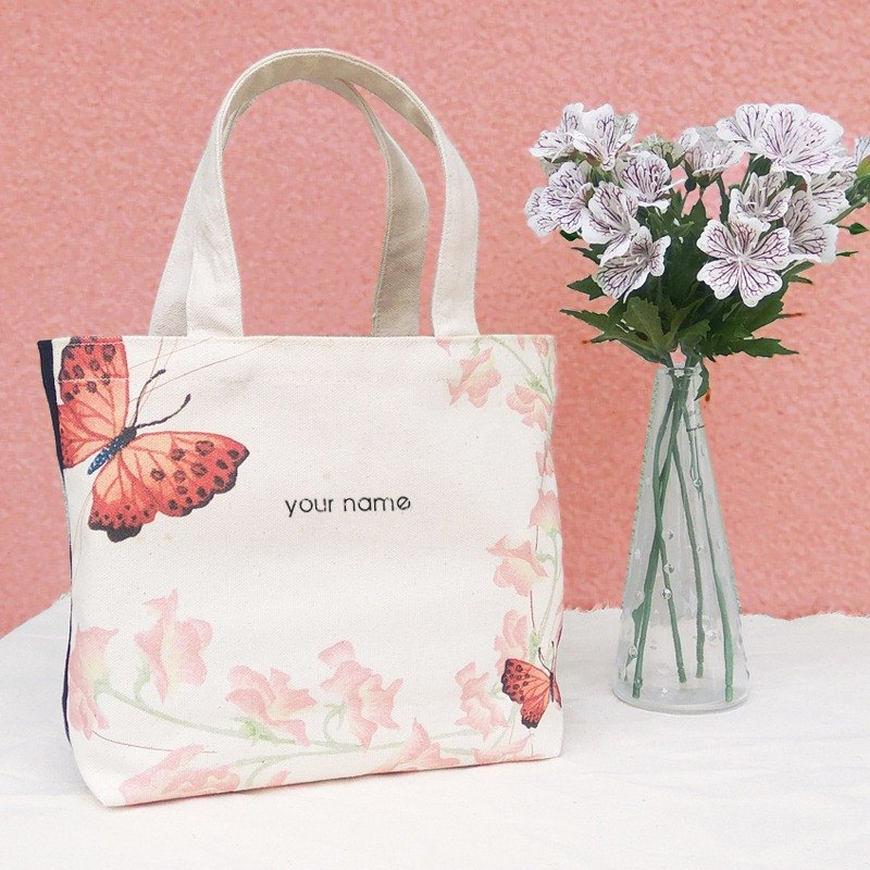 【Customized Name】 Butterfly / Print Canvas / Hand Bag - Gift Tote Bag