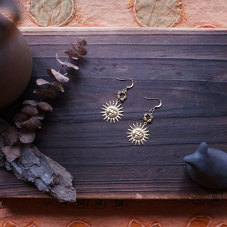 Sun God Brass Earrings Apollo Earrings