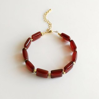 [Gemstone Series] Hand Made Natural Ore Red Onyx Brass Elegant • Bracelet