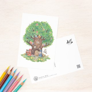 "4 pieces set. Like a picture book. Postcard ""House of big trees of children and animals"" PC-45"