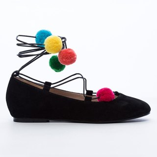 [Saint Landry] LAND colorful pompons strap ballet shoes - classic black