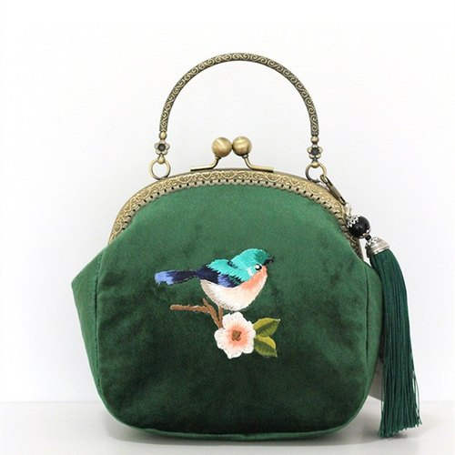 On the new pieces of the first 5% off) mouth gold package cheongsam bag Messenger bag embroidered bird iphone phone bag mobile phone bag oblique backpack bag bag birthday gift green