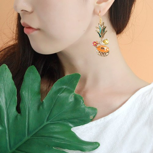 Pineapple earrings sweet and lovely fruit ear clip personality exaggerated long earrings gift