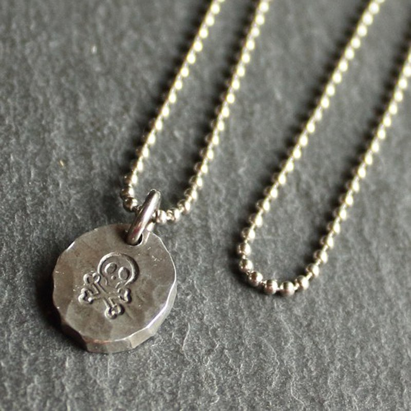 Tin x silver necklace [Stamped Tin Necklace #Skull]