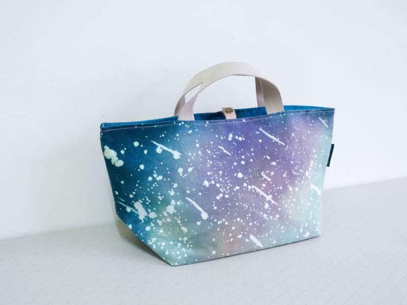 Meteor shower hand dyed tote bag lunch bag