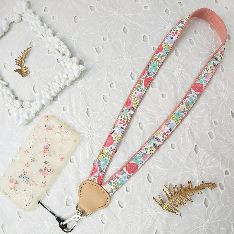 Y-shaped decompression two-color pink floral fabric leather phone neck lanyard