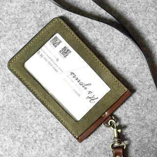 YOURS Straight Document Holder (with Neck Cord Ribbon) Army Green Mink + Dark Wood Leather