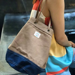 Brown/navy Canvas 2way Bucket Bag w/ Strap Leather Handles