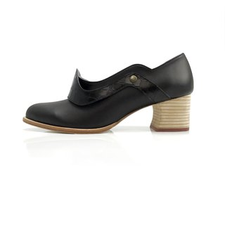 Mountain mist  (black mid heels handmade leather shoes)