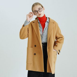 Double-sided hand-stitched camel cashmere coat