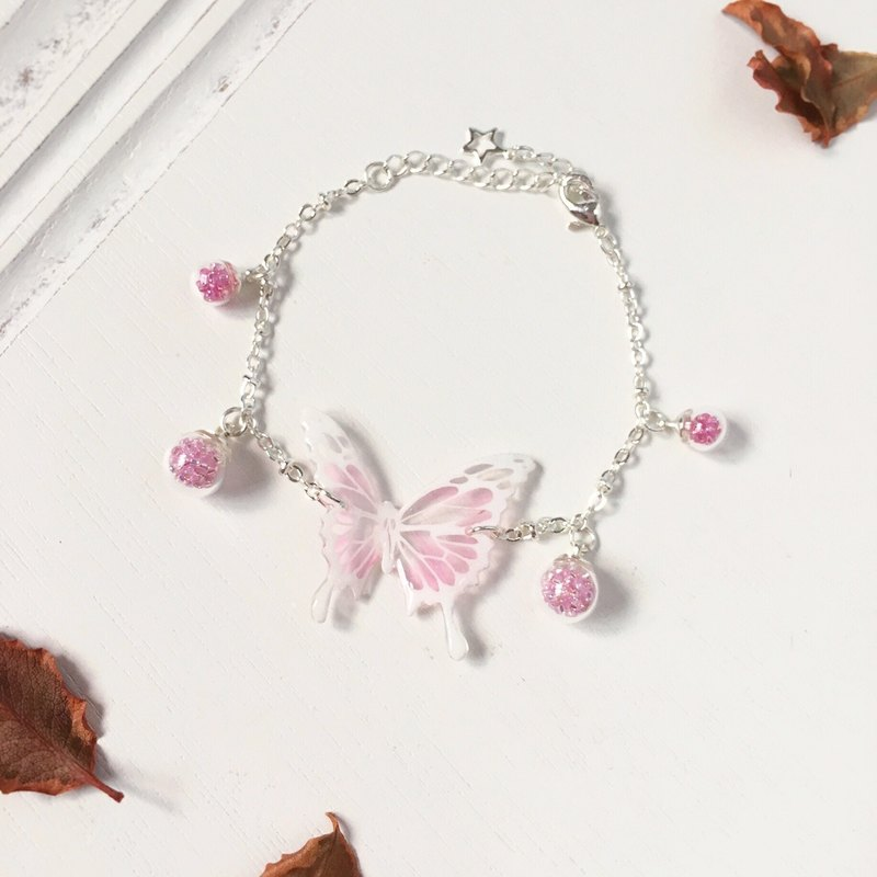 * Haku‧Neko * Hand-painted white pattern pink color wavy pattern swallowtail butterfly glass ball bracelet  gift