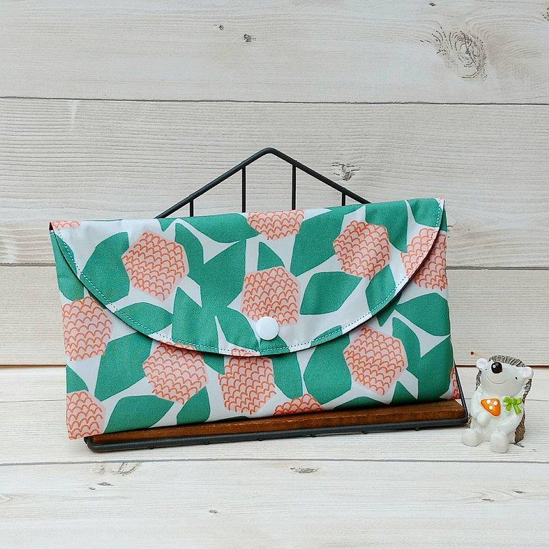 【現貨-口罩收納袋】橘花綠葉/防潑水材質