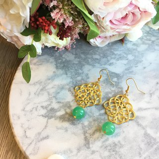 Gold-Tone Endless Knot Earrings with Green Aventurine drop