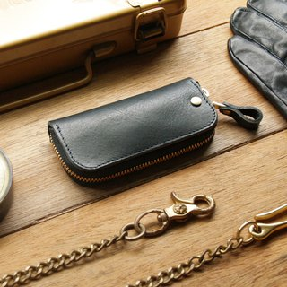 Leather Key Case ( Custom Name ) - Harley Black