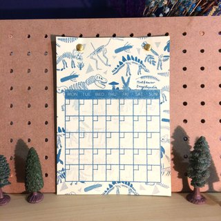Office Practical Small Things Dinosaur Perpetual Calendar Lake Green Risograph Hole Printing
