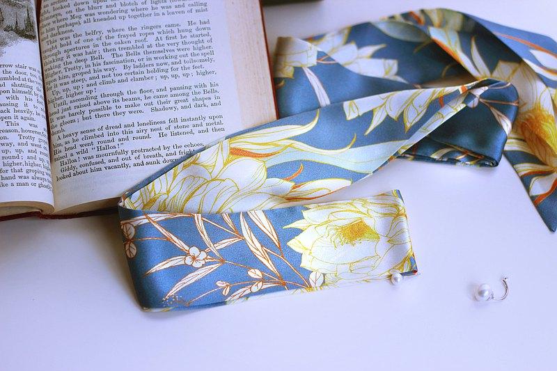 原創設計藍灰曇花復古真絲素縐緞髮帶細長領巾窄絲巾配飾