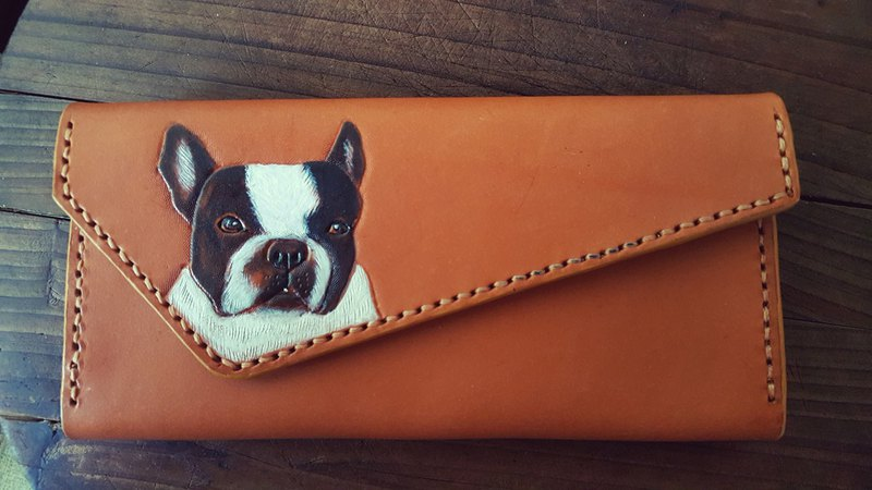 Custom-made pet dog law fight retro yellow pure leather long wallet - can be engraved name (lover, birthday gift)
