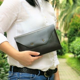 Dark Brown Leather Envelope Clutch, Leather bag, Leather clutch MEDIUM