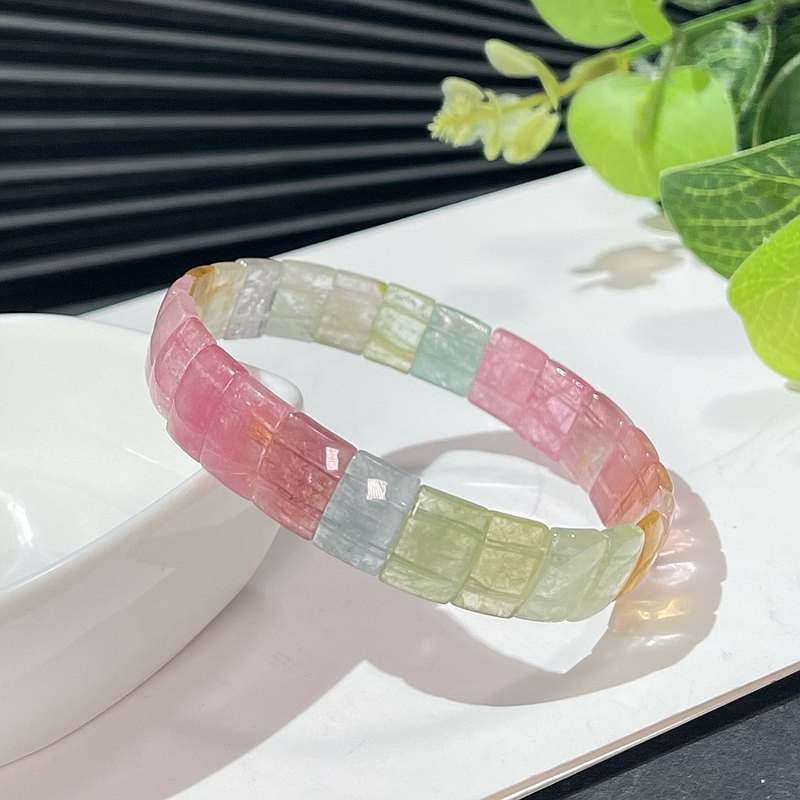 Natural macaron candy watermelon tourmaline hand brand ice permeable colorful crystal bracelet bracelet women