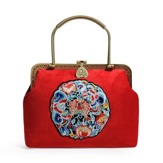 Fine red velvet embroidery fine antique antique handbag