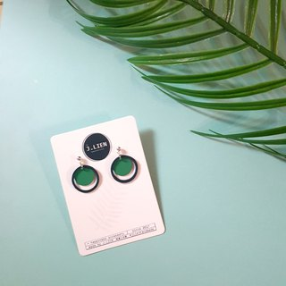 Small green eye pin / ear clip handmade earrings Korea direct