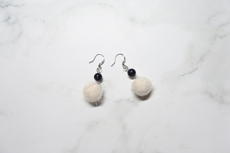 【Tender Night】 Dangle Earrings with Natural Stones and Hair Balls