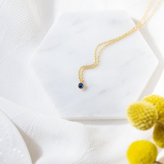 [Series] small round small round diamond drill 14K gold necklace bag - navy blue