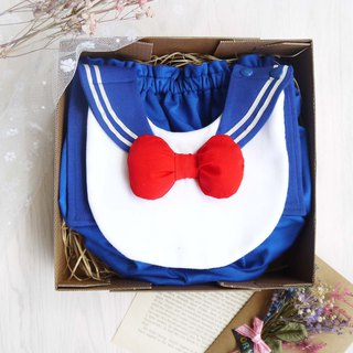 DOMOMO sailor collar cute baby female soldier (whole set) modeling bib + lantern fart pants moon gift box