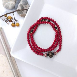 [108 beads series] red glaze * folk custom brass hollow carved multi-circle bracelets New Year gift