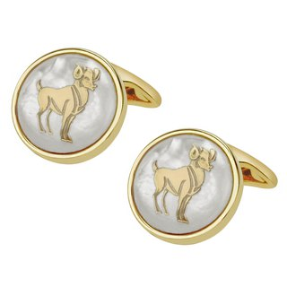 White Mother of Pearl Aries Gold Cufflinks