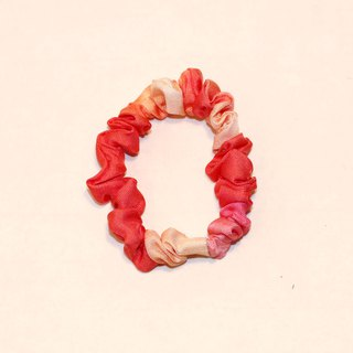 """Bubble Gum Seine"" Zhu Hong pink printed pure silk elastic fashion hair ring"