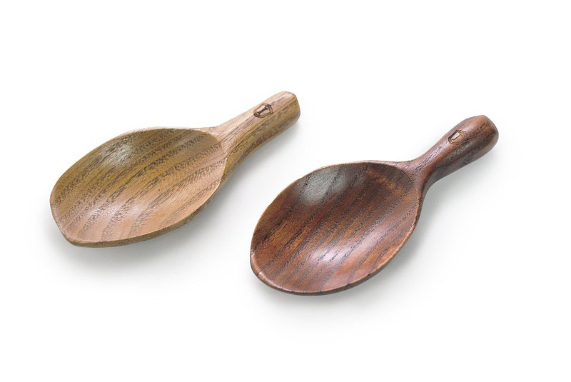Islandoffer wooden Mini Spoon with leaf Design(1set 2pcs)