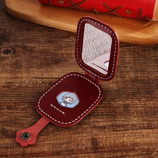[Cut line] hand sewn cute kitty's cat make-up mirror / carry a mini mirror wine red