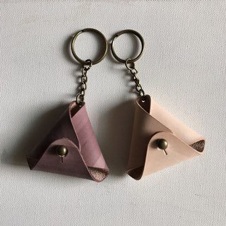 2 into the group _ triangle change key ring _ raspberry + raw leather