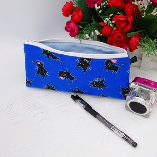 Blue Black Cat Pen Bag / Storage Bag Universal Bag Pencil Case Cosmetic Bag*SK*