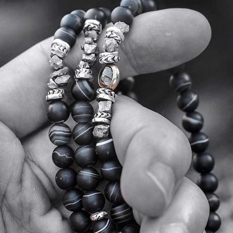 Black Pharaoh. Natural ore three-strand rosary black agate pyrite 925 sterling silver refined pure copper