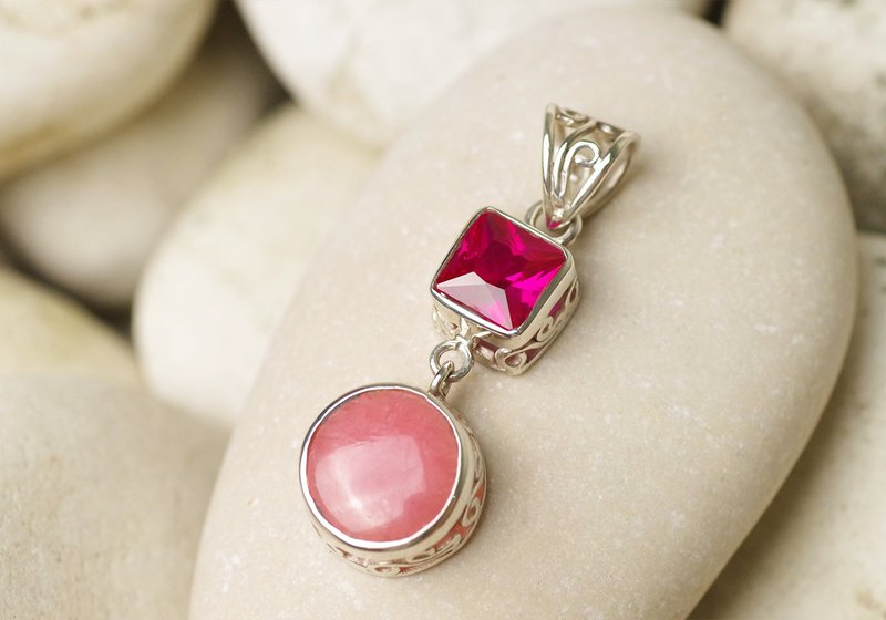 Rhodochrosite and Ruby Pendant Top - Gemstone Pendant Necklace