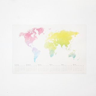 2018 colorful world map calendar poster