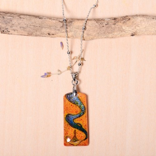 God handmade color lead drawing drawing, electroplating platinum necklace, creative hand, can be customized