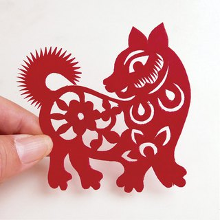 Flower dog paper-cut go19