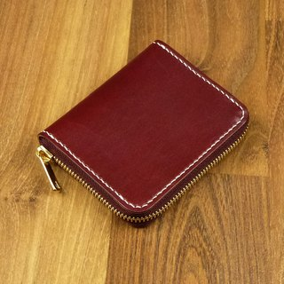 United States Ma Jiang leather zipper bag (Burgundy red)
