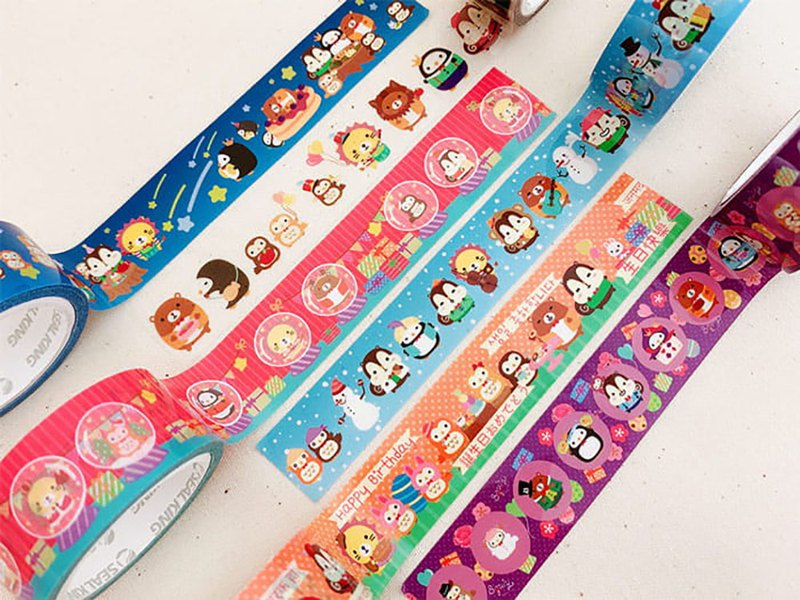 Squly & Friends Decoration Tape (6 styles) | Notebook Deco/Masking Tape