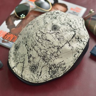 【MAJORLIN】 Flat hat sheepskin patchwork cap white map leather hand-made leather Taiwan leather boutique